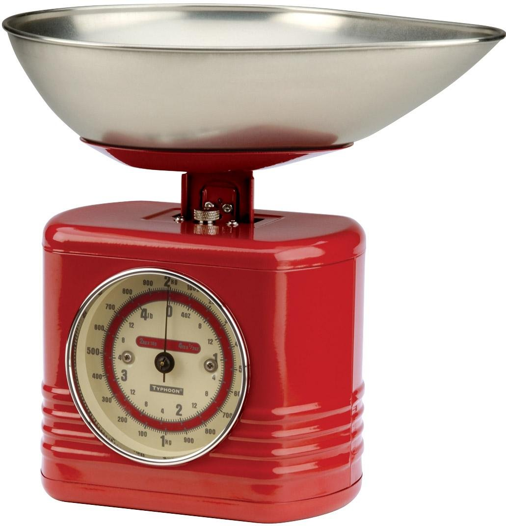 Typhoon Stainless Steel Vintage Mechanical Kitchen Scale, Red 0