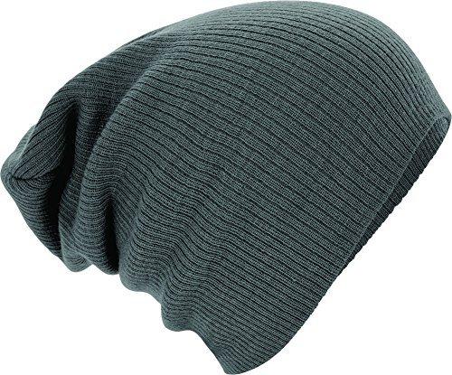 Beechfield Unisex Slouch Winter Beanie Hat (One Size) (Smoke Grey)