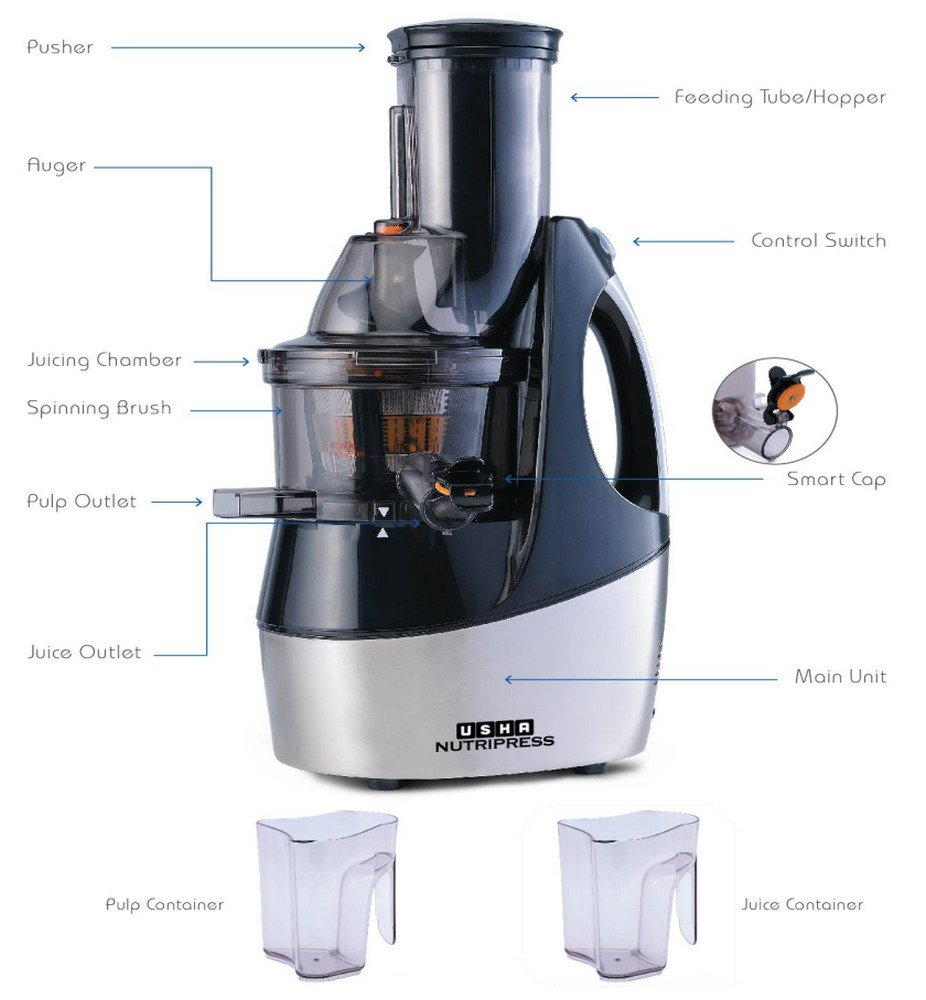 Usha Nutripress CPJ362F 240-Watt Cold Press Slow Juicer (Black and Brush Steel finish)