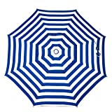 Heininger 1321 DestinationGear Italian Blue and White 6' Acrylic Striped Beach Pole Umbrella