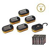 EverBrite 6-Pack Compact Work Light Magnetic 27-LED with Hanging Hook Batteries Included (Color: Black&orange)