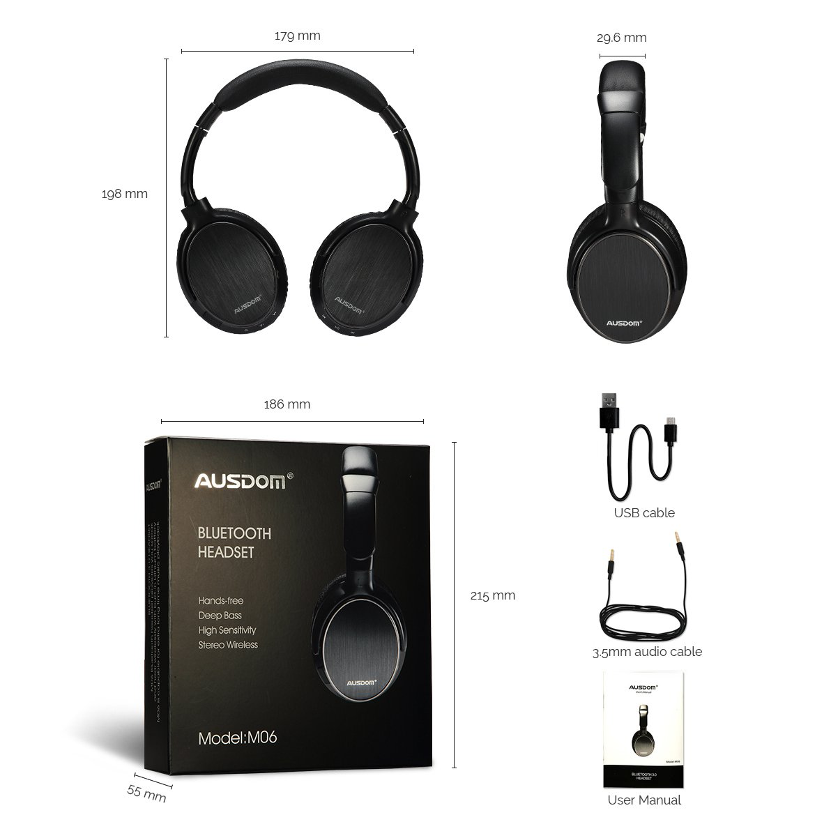 ausdom m06 bluetooth wireless headset wired stereo over ear headphones with mic ebay. Black Bedroom Furniture Sets. Home Design Ideas