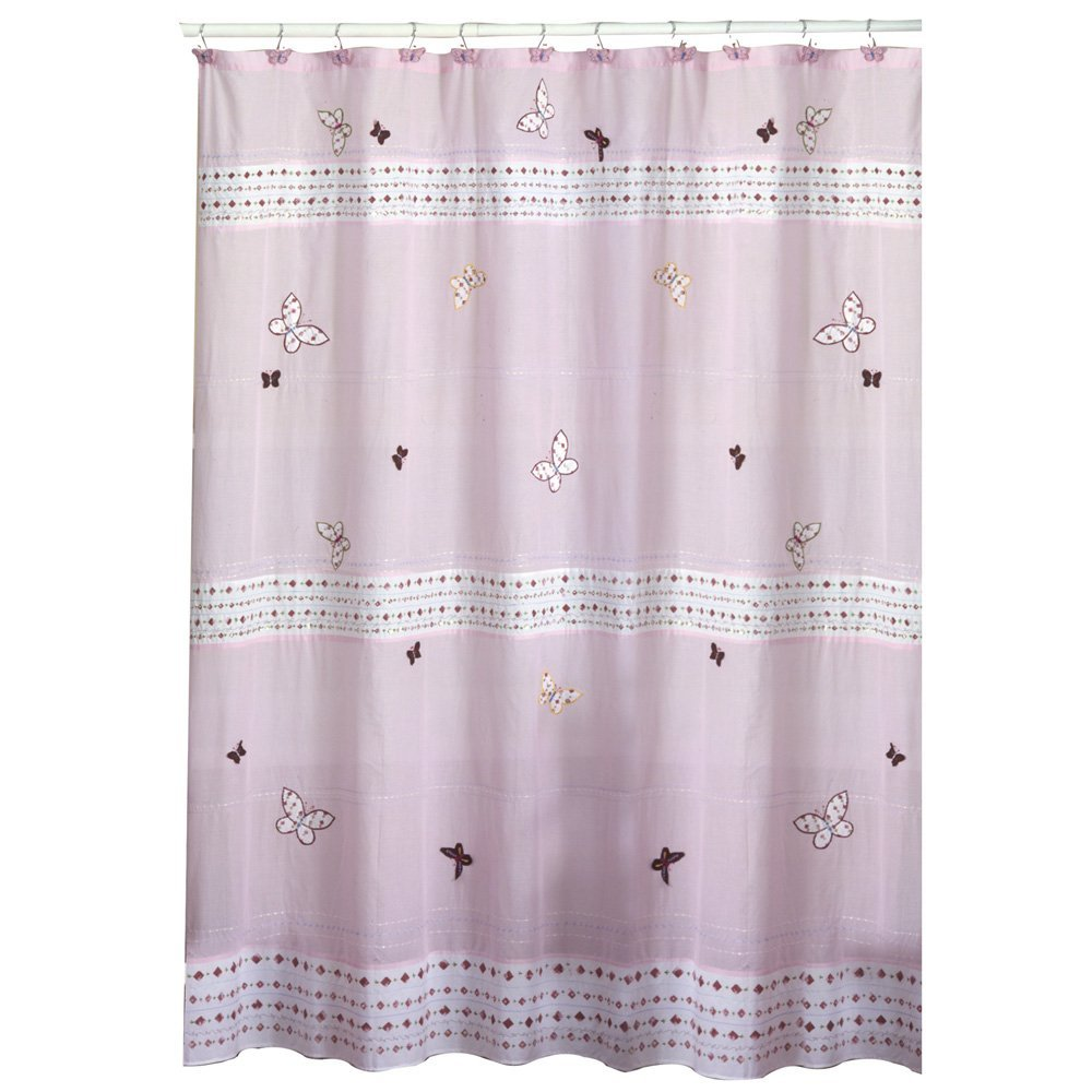 butterfly pattern pink shower curtain