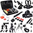 Joyoldelf 30-in-1 Sports Kit for GoPro Hero4 Black/Silver Hero 3+ 3 2 for Xiaomi Yi Sports Cam Action Camera for SJ4000 SJ5000 SJ6000 Sports Camera Accessory Kit , Large Case + Monopod + Car Suction Cup +Tripod + Head Strap + Chest Mount Harness