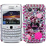 Cooltechstuff Hot Pink/Black Hard Fitted Case Cover/Barbie Diamond Flower Gemstone For Blackberry Bold 9700