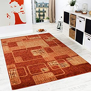Rug Living Room Rug Retro Pattern Flecked in Terracotta Orange Unbeatable Deal from Paco Home