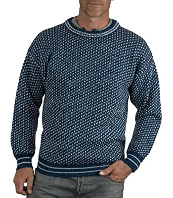 Wool Overs Pull norvégien homme en laine Bleu ardoise/Ivoire XS