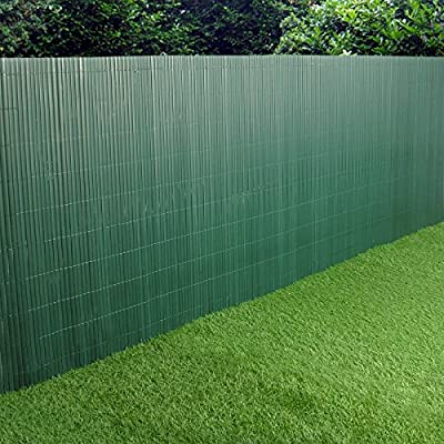 PVC Garden Fence Plastic Panel Screen Double Faced Green 3m Long 1m Tall
