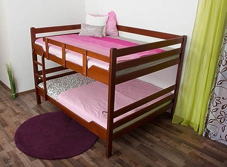 """Stockbett fur Erwachsene """"Easy Möbel"""" K16/n, Kopf- und Fußteil gerade, Buche Vollholz massiv Kirschrot - Liegefläche: 160 x 200 cm, teilbar"""