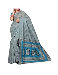 Shuddh Desi Beige Blue Triangle Print Chanderi Saree