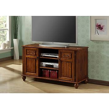 Monarch Specialties Assembled Length TV Media Console, 50-Inch, Dark Oak