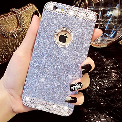 Luxury Shiny Bling Crystal Rhinestone Diamond Glitter Sparkle Hard Cover Case for Iphone 4s 5s 5 6 Plus & Samsung Galaxy S3 S4 S5 Note 2 3 4 A3 A5 A7 (Iphone 6 Plus 5.5 Inch, Silver) (Galaxy 4s Cover compare prices)