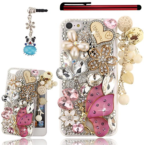 Ancerson 3D Handmade Luxury Shining Glitter Crystal Diamond Rhinestones Hard Back Case Cover For Apple Iphone 5C Free With A Red Stylus Touchscreen Pen, A 3.5Mm Universal Crystal Diamond Rhinestones Bling Lovely Silvery Flower Blue Panda Pendant Dust Plug