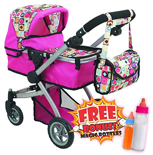 Deluxe Doll Pram with Swiveling Wheels & Adjustable Handle and Free Carriage Bag