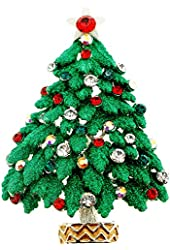 Green Christmas Tree Pin Swarovski Crystal Pin Brooch