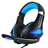 Gaming Headset for Xbox One, PS4, Nintendo Switch, PC, Selieve Noise Cancelling Over Ear Headphones with Mic, LED Light Bass Surround Soft Memory Earmuffs for Fortnite/PUBG/God of War (Black & Blue) (Color: Black & Blue)