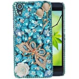 Spritech(TM) Bling Clear Phone For HTC Desire 626,3D Handmade Blue Crystal Gold Buttefly White Flower Accessary Design Cellphone Cover