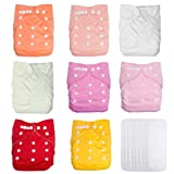 UBBCARE Baby Pocket Cloth Diapers Reusable Washable Adjustable 8 Pack with 8 Inserts for Girls Baby Shower Gifts (Color: Girl Color, Tamaño: free size)