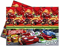 Cars Neon-Plastic Tablecover , Kids Party Supplies , Disney Theme Birthday Party , Disney Cars , Table Covers , Table Cloth (Pack of 1 Plastic Table Cover)