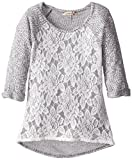 Speechless Big Girls Lightweight Sweater with Lace Front