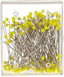 Prym 0.60 x 43 mm Extra Long Glass Headed Pins, Yellow