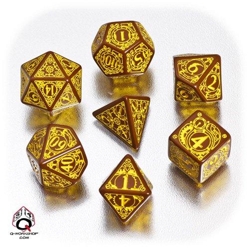 Q-Workshop Polyhedral 7-Die Set: Carved Steampunk Dice Set (Brown & Yellow)