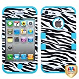 Product B00CQ6IEL8 - Product title MyBat IPHONE4AVHPCTUFFIM049NP Rugged Hybrid TUFF Case for iPhone 4 - Retail Packaging - Zebra/Tropical Teal