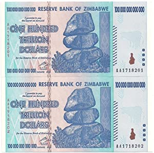 Two Sequential CU 2008 Zimbabwe 100 Trillion Dollars