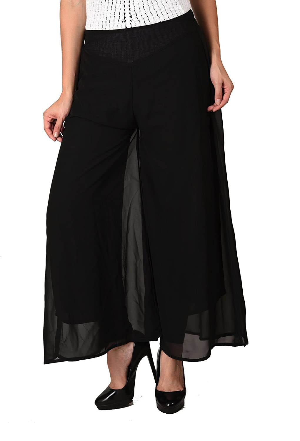Deals on Women Stylish Solid Black Georgette Plazzo