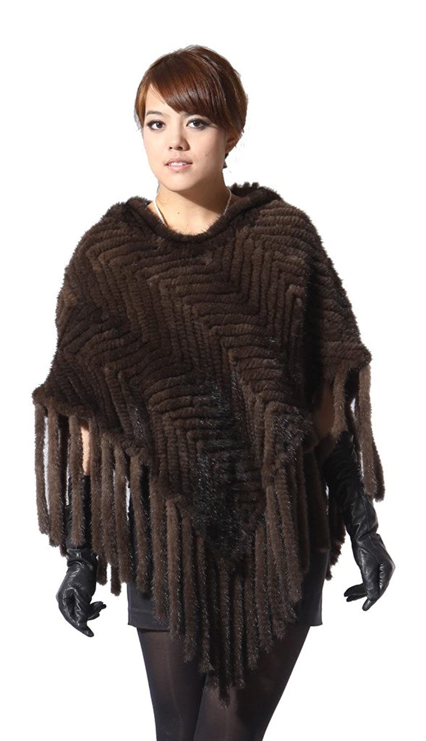 Vogueearth Damen 100%Echt Strick Gestricktes Nerz Pelz Fell Winter Warmer Schal Stola Poncho Cape