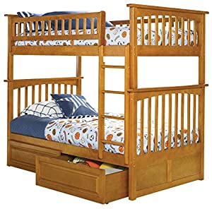 Atlantic Furniture Columbia Bunk Bed with Raised Panel Bed Drawers