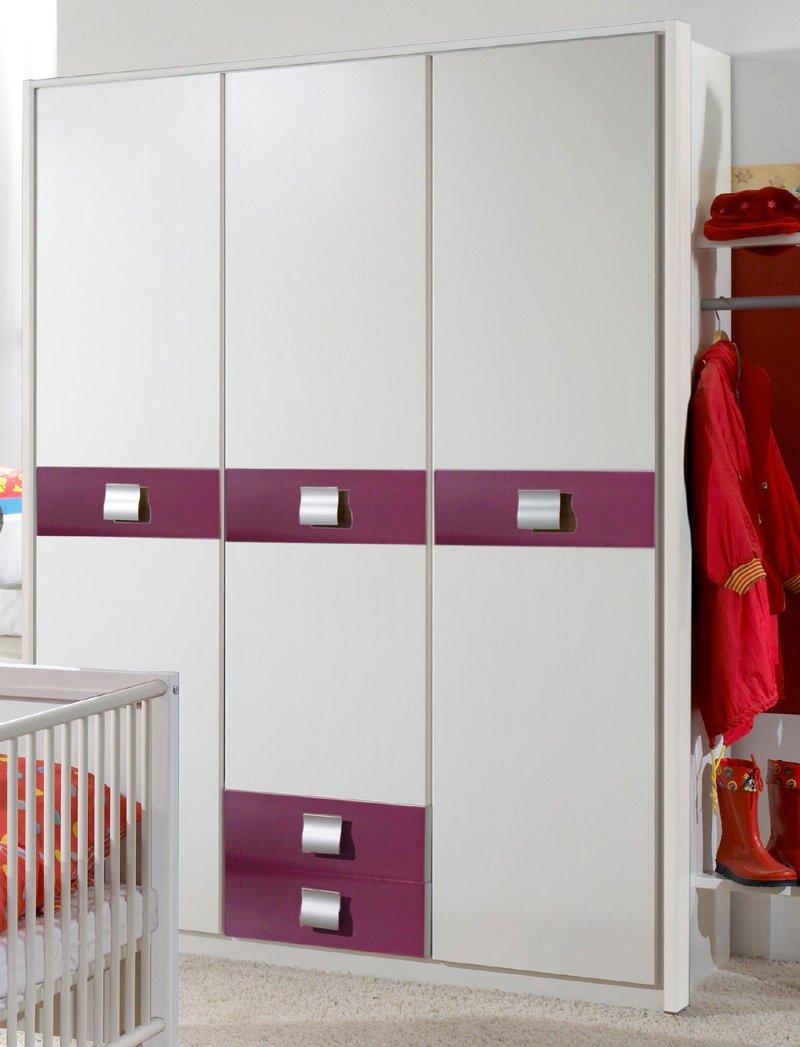 Babyzimmer Kleiderschrank »EMMA« in alpinweiß – brombeer