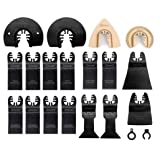 EZARC 18pc Oscillating Multitool Saw Blade Universal Kit for Sawing, Routing, Rasping, Scraping and Cutting (Color: Black, Tamaño: 18 PCS)