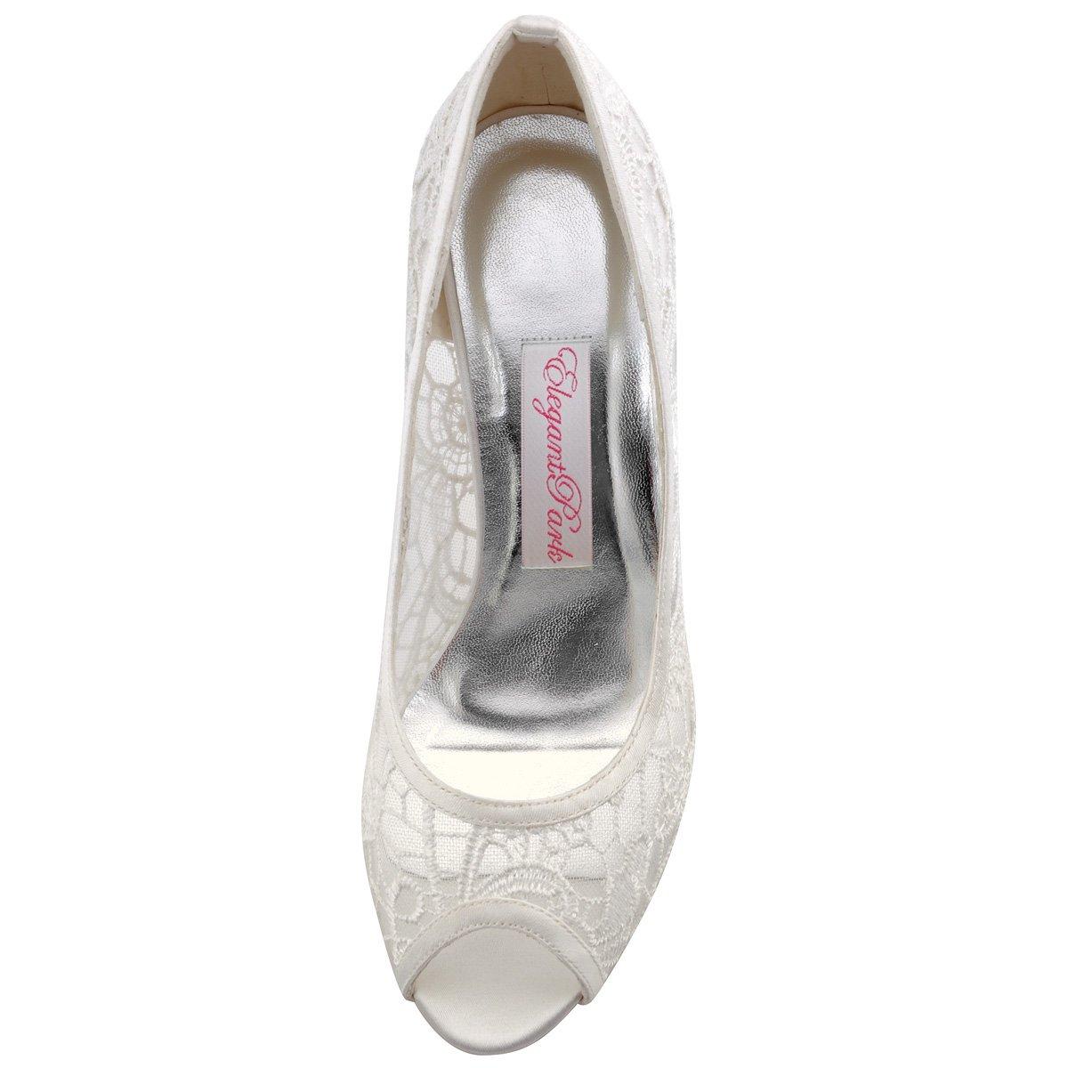 ElegantPark Ivory Women Peep Toe High Heel Pumps Vintage Lace Wedding Dress Shoes 2