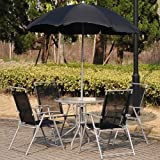 Outsunny 6 PCs Garden Patio Furniture Set Bistro Set Textilene Folding Chairs +Table +Parasol (Black)