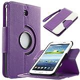 Samsung Galaxy Tab 3 7.0 Case, ULAK Dual Color Samsung Galaxy Tab 3 7.0 360 Degree Rotating Flip Case - Slim Fit Premium PU Leather Cover for Samsung Tab 3 7.0 inch Tablet, Purple + White