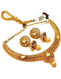Jewar Kundan Pearl Polki Original One Gram/Two Gram Gold Plated Victorian Ad Jade Gemstone Necklace Set 7115