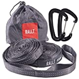 Hammock Tree Straps - Combined 2055 LB Breaking Strength, 20 Feet Long, 36 Loops. 100% No Stretch Polyester Suspension System. Like Python and ENO Straps (With Carabiners, Charcoal)