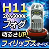 PHILIPS フィリップス アルティノンタイプ設計 LEDフォグランプ 20W 6000K ホワイト《H8/H11/H16》
