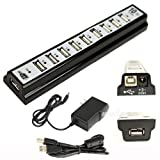 10 Port High Speed USB 2.0 Hub + Power Adapter for Notebook Pc