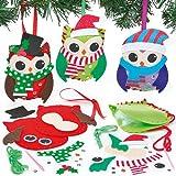 Kits couture Décorations chouettes pour Noël en feutre que les enfants pourront fabriquer et suspendre (Lot de 3)...