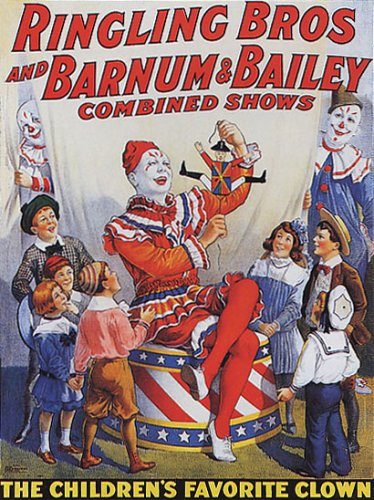 CIRCUS THE CHILDREN'S FAVORITE CLOWN LARGE VINTAGE POSTER REPRO 0