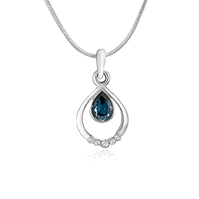 Mahi with Swarovski Crystals Blue Pretty Rhodium plated Drop Pendant for Women PS1194124RBlu at amazon