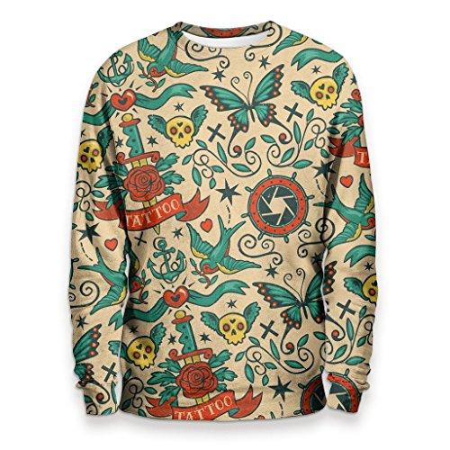 OLD TATTOO Felpa Uomo - Fancy Up Shop Sweatshirt Man - Skull Tattooed Pattern Streetware Underground T-Shirt