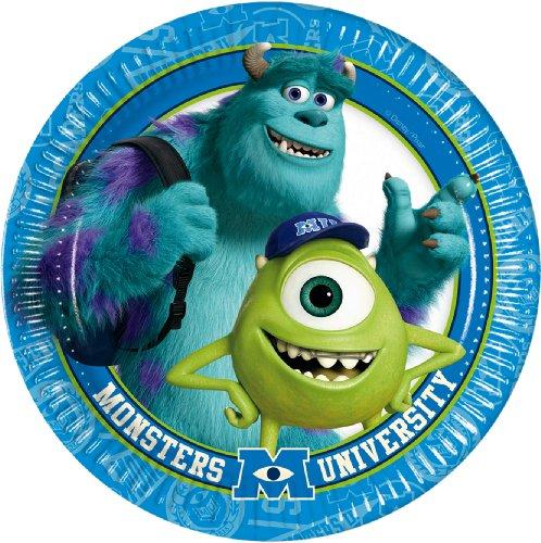 procos-81864-monsters-university-paper-plates-oe20-cm-8-pieces-blue-green