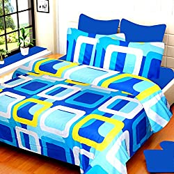 VCS 100% Cotton Hot Blue With White & Yellow Pigment Printed Double Bedsheet With 2 Pillow Cover - Standard Size