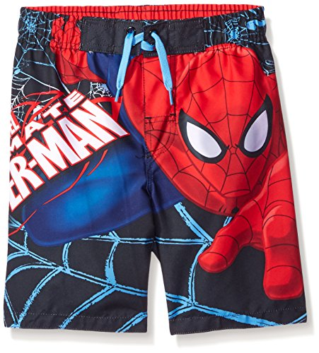 Marvel Boys' Spiderman Colored Swim Trunk, Red/Blue, 4 (Boys Swim Trunks Marvel compare prices)