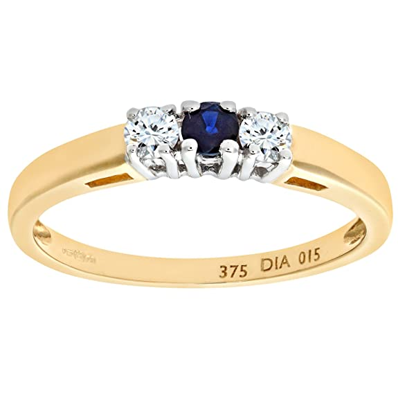 Naava 9ct Yellow Gold Diamond and Sapphire 3 Stone Ladies Ring