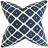 The Pillow Collection P20-ROB-SOUK-ADMIRAL-C69-P31 Fallon Geometric Pillow, Blue, 20