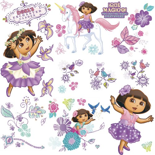 ROOMMATES RMK1667SCS Nickelodeon Dora's Enchanted Forest Adventures Peel and Stick Wall Decals - 1